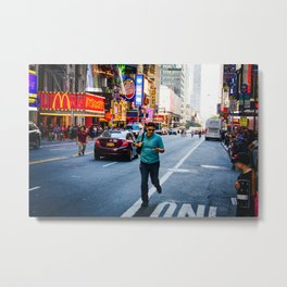 Times Square Runner Metal Print