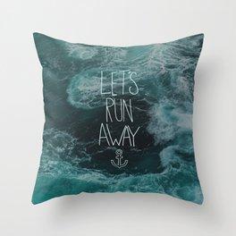 Let's Run Away - Ocean Waves Throw Pillow