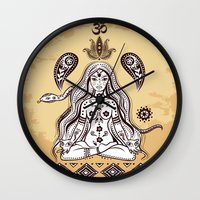 om Wall Clocks featuring om by flamenco72