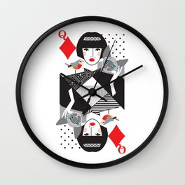 Queen of Diamonds Wall Clock