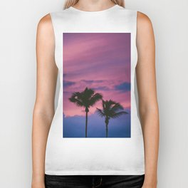 Pastel Pink Purple Periwinkle Sunset Two California Palm Tree Silhouette Biker Tank