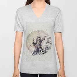 Jack Sparrow with double pistols Unisex V-Neck