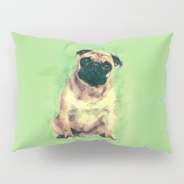 Cute Pug dog on gentle green Pillow Sham