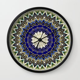 Bohemian Bright Blue and Gold Mandala Wall Clock