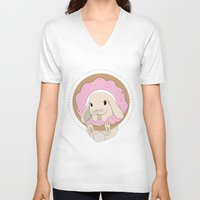 sprinkles V-neck T-shirts featuring Sprinkles the Bunny by LarissaKathryn