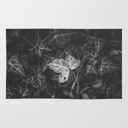 A white leaf in the dark garden leaves Rug