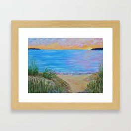 Lake Michigan, landscape painting Framed Art Print