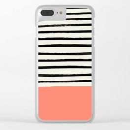 Coral x Stripes Clear iPhone Case