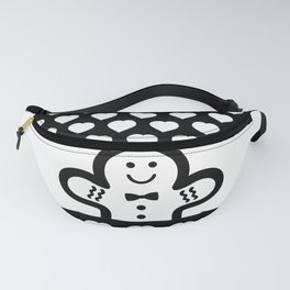 Gingerbread Man (black & white), simple, bold design Fanny Pack