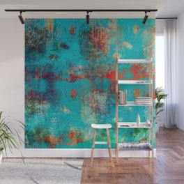 Aztec Turquoise Stone Abstract Texture Design Art Wall Mural