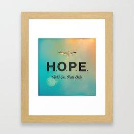 Always Have Hope (Seagull Flying in Teal Sky) Framed Art Print