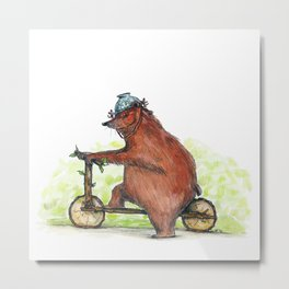 Bear Bike Metal Print