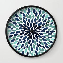 Flower Bloom, Aqua and Navy Wall Clock