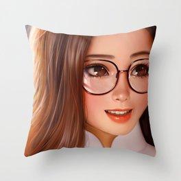 Lovely Sweet 3D Cartoon Bookworm Schoolgirl UHD Throw Pillow