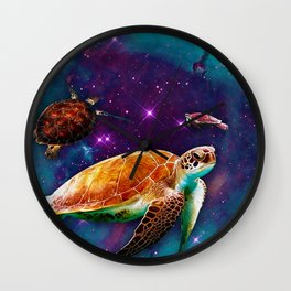 Turtles in Space Wall Clock