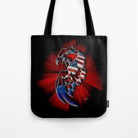 patriotic Tote Bags featuring Patriotic Eagle by Mr D's Abstract Adventures