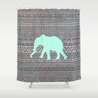 shipping Shower Curtains featuring Mint Elephant  by Sunkissed Laughter
