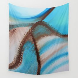 """""""Blue sand"""" Original oil finger painting by Monika Toth Wall Tapestry"""