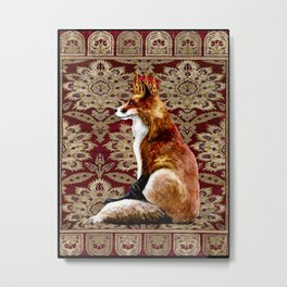 The Fox King - Mughal Textile II Metal Print