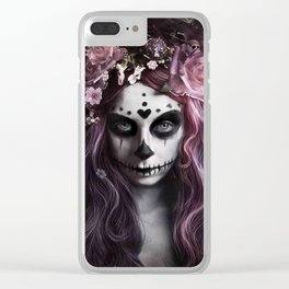 Zombie face tattoo girl Clear iPhone Case