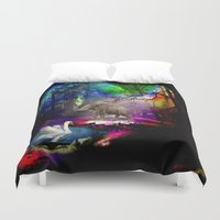decal Duvet Covers featuring Fantasy forest by haroulita