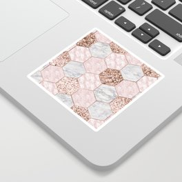 Rose gold dreaming - marble hexagons Sticker