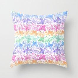 Rainbow butterflies pattern Throw Pillow
