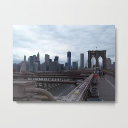 Brooklyn Bridge, View of New York City, Structural Architecture Metal Print