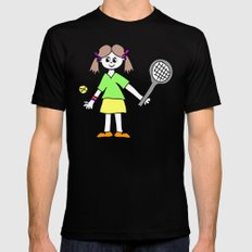 Tennis Girl SMALL Black Mens Fitted Tee