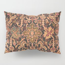 Floral Medallion I // 18th Century Colorful Blue Lime Green Pink Sapphire Plum Burlap Brown Pattern Pillow Sham