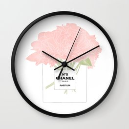 minimal no. 5 perfume with pink flowers Wall Clock