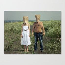 Paper bag couple Canvas Print
