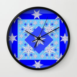 DECORATIVE BABY BLUE SNOW CRYSTALS BLUE WINTER ART Wall Clock