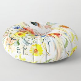 barn owl and flowers floral owl decor artwork Floor Pillow