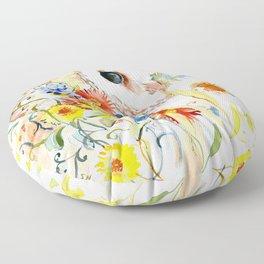 barn owl and flowers floral owl decor artwork Floor Pillow