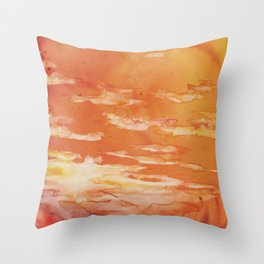 Sunset silhouetteing 10th century ruined pagodas (temples) at Bagan (Pagan)- Myanmar Throw Pillow