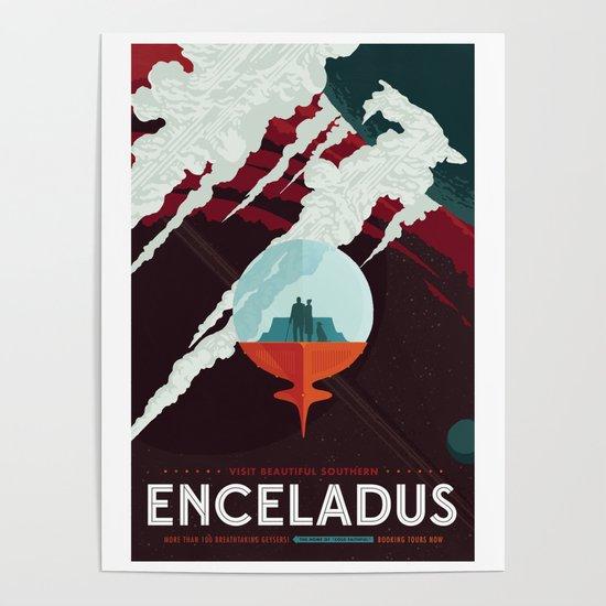 NASA Retro Space Travel Poster #3 - Enceladus by fineearthprints
