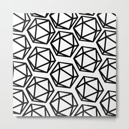 D20 Pattern Large Metal Print