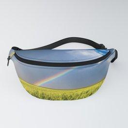 Daydream - Double Rainbow Above Kansas Wheat Field Fanny Pack