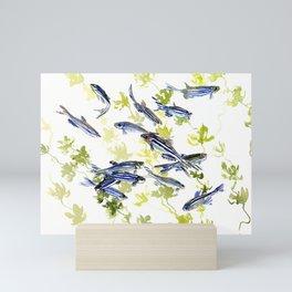 Fish Blue green fish design zebra fish, Danio aquarium Aquatic design underwater scene Mini Art Print