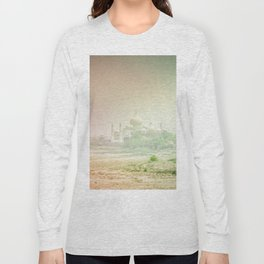 Colors of Dreamy Taj Mahal in the Morning Mist Behind the Yamuna River Long Sleeve T-shirt