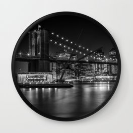 MANHATTAN SKYLINE & BROOKLYN BRIDGE Nightly Impressions | Panoramic Monochrome Wall Clock
