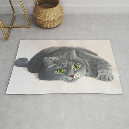 Grey Cat Painting Rug