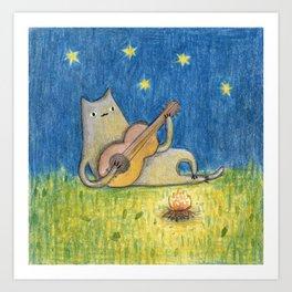 Campfire Cat Art Print