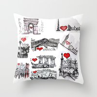 cities Throw Pillows featuring Cities 1  by sladja