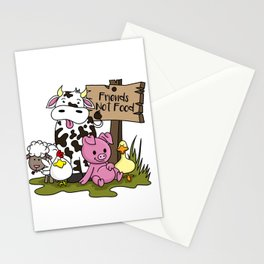 Friends Not Food Animal Rights Pig Cow present Stationery Cards