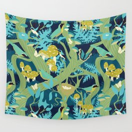 North American Forest Pattern (Greens) Wall Tapestry