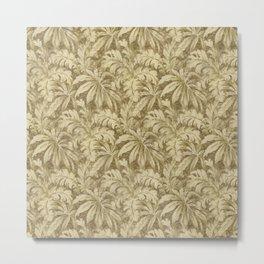 Vintage Taupe Leaves - Antique Leaf Design Metal Print