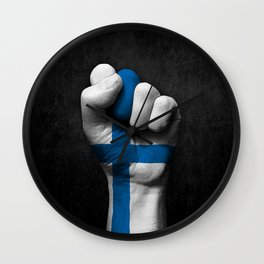 Finnish Flag on a Raised Clenched Fist Wall Clock