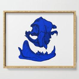 Cat Skull 9 (royal blue) Serving Tray